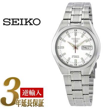 【日本製逆輸入SEIKO5】セイコーファイブ メンズ自動巻き腕時計 ホワイトダイアル 蓄光バーインデックス シルバーステンレスベルト SNKG17J1