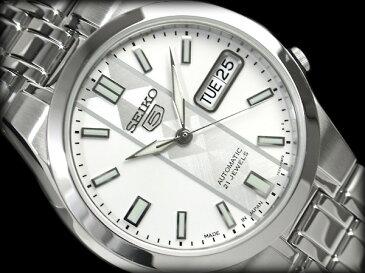【日本製逆輸入SEIKO5】セイコー5 メンズ自動巻き式腕時計 ホワイト×シルバーチェックダイアル シルバーステンレスベルト SNKG31J1