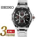 【逆輸入SEIKO LORD】セイコーロード メンズ マルチファンクション腕時計 ブラックベゼル ブラックダイアル ステンレスベルト SRL035P1