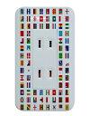 2口コンセントカバー 子ども部屋にオススメ 国旗 世界 国々 地理の勉強 カラフル シンプル