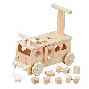 ポイント10倍【送料無料】 木製玩具 森のパズルバス(手押し、乗用玩具)