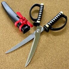 鞘付き日本刀鋏黒インテリアはさみ日本製ハサミプレゼント