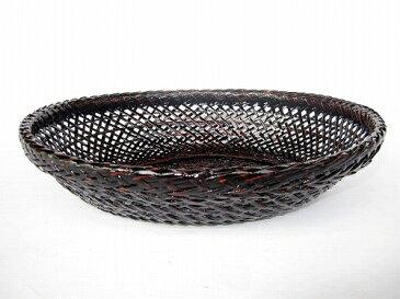 竹製 カシュー塗り 盛器 丸 みかんかご 16-077