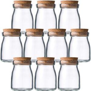ガラス瓶 プリン・ヨーグルト瓶 100ml (ヨーグルト100コルク付-10本セット-) glass bottle cork top