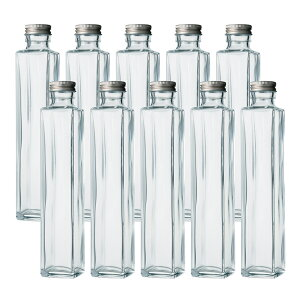 ハーバリウム、ドレッシング、タレ、オイルなどで使えるガラス瓶・透明瓶・角瓶・SSE-200A 10本セット