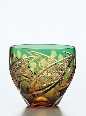 彩花切子タンブラー 緑 クリスタルガラス
