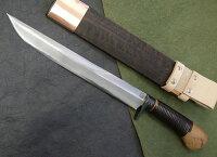 土居良明作銀牙剣鉈両刃磨き270ミリ日立安来鋼青紙2号