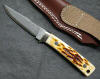 HATTORIハットリKD30-841ブラウンカウリXニッケルダマスカス鋼シースナイフ