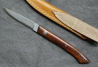 HATTORIハットリKD30-目高1ココボロカウリXニッケルダマスカス鋼シースナイフ