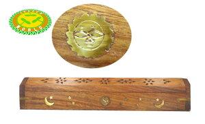 月と太陽と星の模様 シーシャムウッド 六角箱型 お香立て(お香HEM CHAMDAN1箱付) …