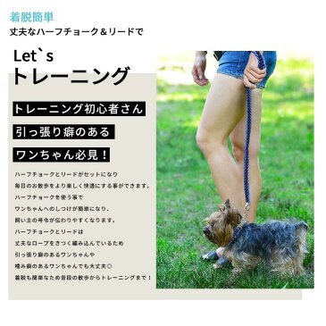 ハーフチョーク + リードセット 小型犬 首輪【全4色】Sサイズ 丈夫な編み紐・チェーンタイプ
