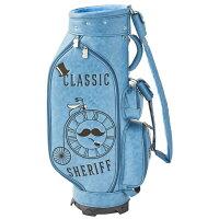レトロな個性派【先行予約受付】シェリフ【SHERIFF】クラシック数量限定レアレトロ被りにくいゴルフバッグキャディバッグメンズレディース合皮帽子自転車キャラメル水色ターコイズSFC-012CB-TURQUOISE