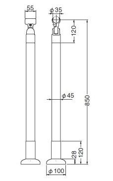 シロクマ 支柱(タモ集成材) 35mm用 GBR-721B H850mm [ 手摺 手すり支柱 手すり金具 玄関 階段 廊下 トイレ 洗面所 屋内 立ち上がる 取付金具 固定金具 転倒防止 介護 介護用品 歩行補助具 介護市場 福祉用品 ]