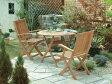 チーク フォールディング ラウンドテーブルとアームチェアー2脚の3点セット テーブル パラソル穴 チェアー [ ガーデンファニチャー 木製 ダイニングテーブルセット テラス 庭 バルコニー]