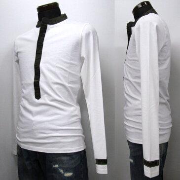 【サマーセール!】HYDROGEN ヘンリーネック ロングTシャツ メンズ フックボタン ホワイト系 XS-XXXL 215110 001 WHITE [41004]