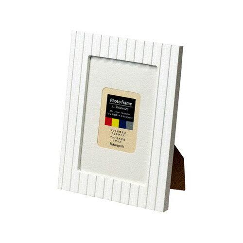 ナカバヤシ カラーフォトフレーム 写真立て L判 / チェキ フ-TMS-101-W ホワイト #301#