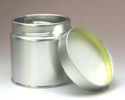 スクリュー缶 Aタイプ(直径7.6cm×高さ7.5cm) シルバーの写真