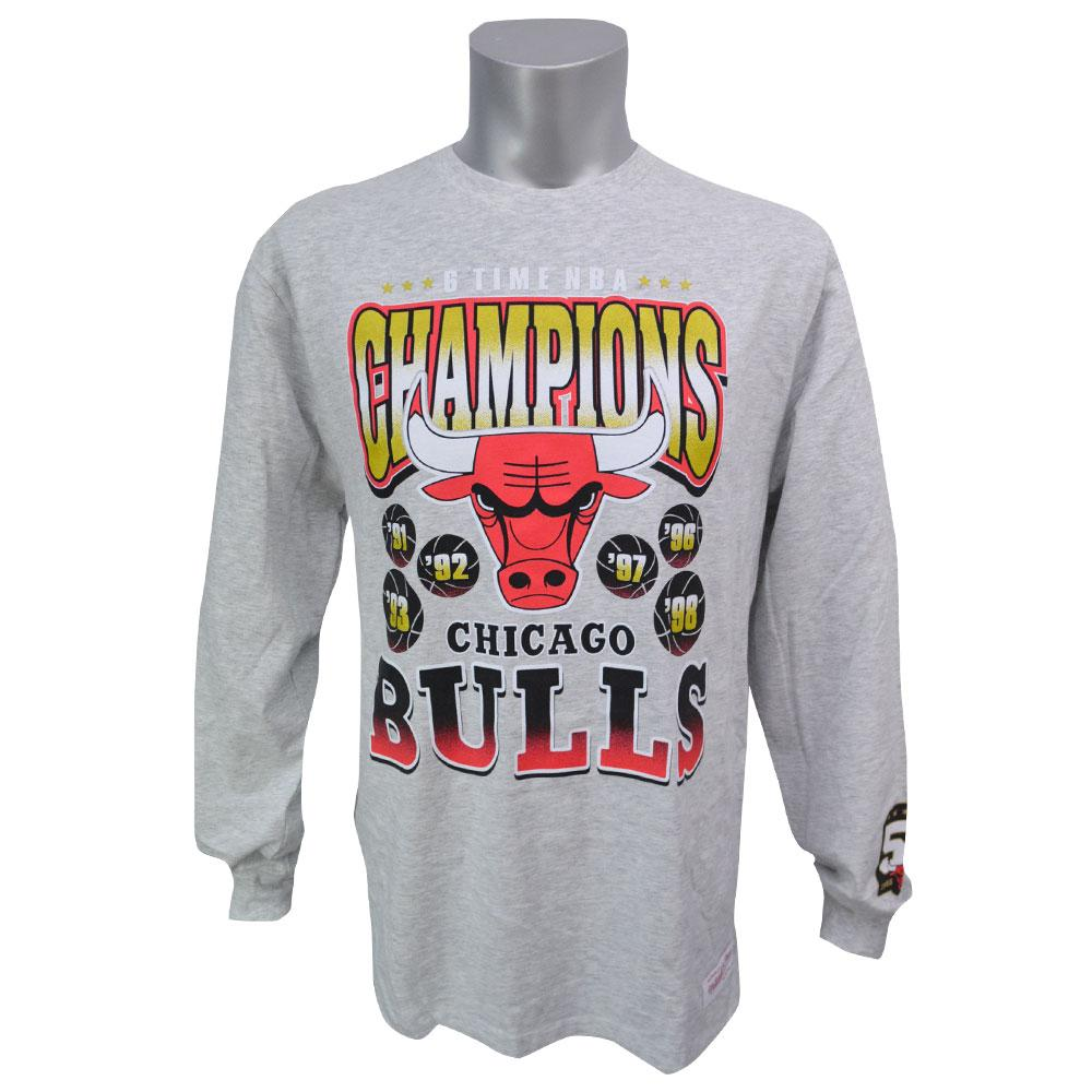 NBA ブルズ 50周年記念 シックスタイム チャンピオンズ ロングTシャツ ミッチェル&ネス/Mitchell & Ness
