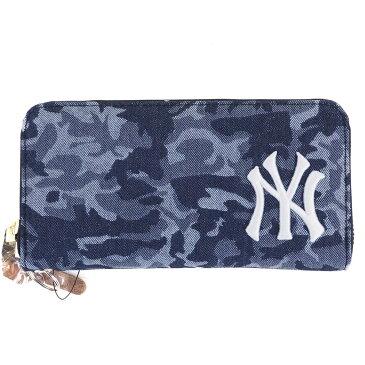 お取り寄せ MLB ヤンキース カモ柄 長財布 イーカム/E-come カモネイビー