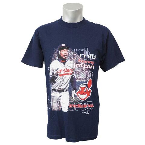 MLB インディアンス ケニー・ロフトン スモール テキスト Tシャツ Sport Attack ネイビー レアアイテム【OCSL】