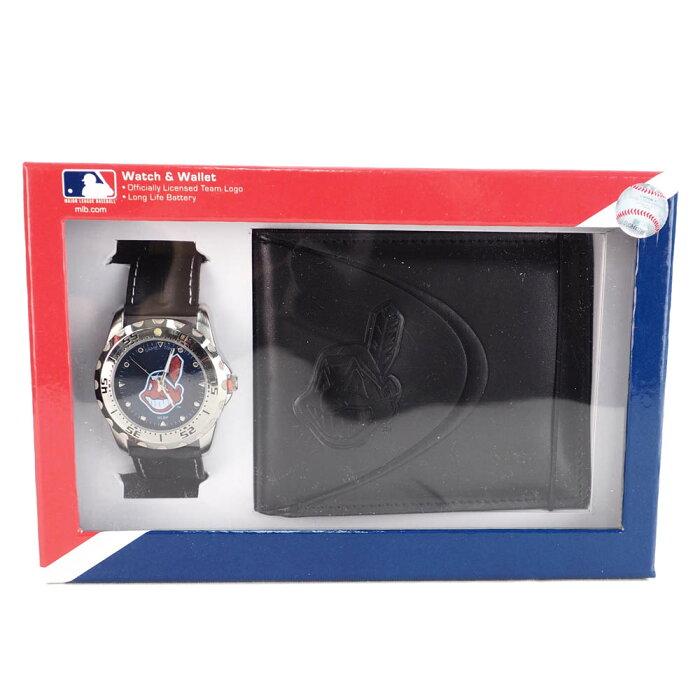 インディアンス グッズ MLB ワフー酋長 腕時計 財布セット ブラックレザー 黒革