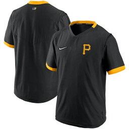パイレーツ ジャケット MLB 選手着用 Authentic Collection ショートスリーブ プルオーバー トレーニング ナイキ ブラック 21nrs
