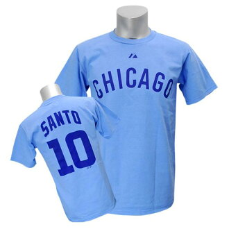 MLB Cubs Ron Santo T恤藍色Majestic Cooperstown Player Name&Number T恤