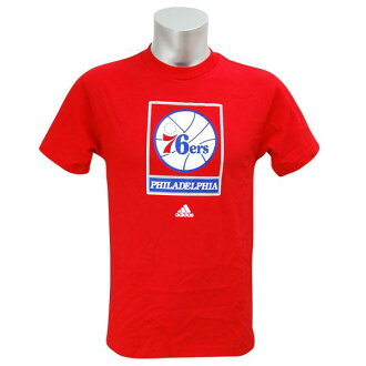 NBA 76ers T Shirt red adidas Full Primary Logo shorts Sleeve T shirt
