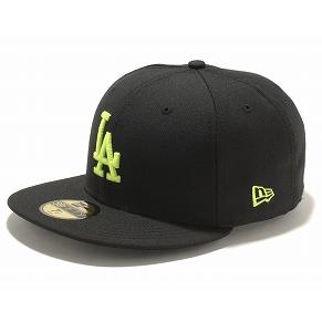 New Era MLB Los Angeles Dodgers 59FIFTY Custom Color Cap (black / neon yellow)