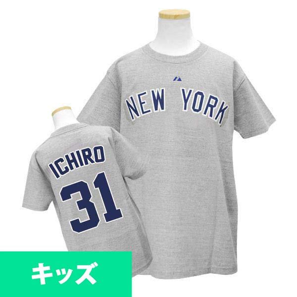 Majestic MLB Yankees # 31 Ichiro Youth Player Road T shirt JPN Ver (gray)