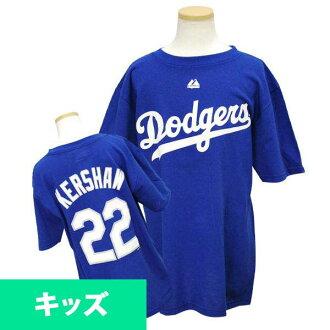 MLB Dodgers Clayton Kershaw Kids T shirts Royal majestic Player T shirt Youth