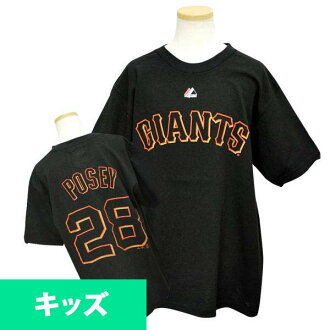 MLB Giants Buster Posey Kids T shirt black majestic Player T shirt Youth