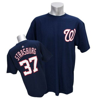 MLB National's #37 Steven Storace Bergh Player T-shirt (navy) Majestic