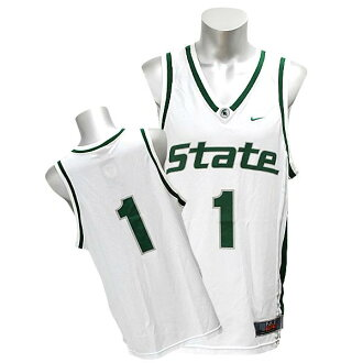 NIKE NCAA Michigan State University Spartans # 1 Elite Basketball jerseys (white)