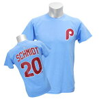 MLB フィリーズ マイク・シュミット Tシャツ ライトブルー マジェスティック Cooperstown Player Name & Number Tシャツ
