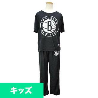 NBA 網隊孩子睡衣設置黑色十字章 UNK 徽標睡衣組