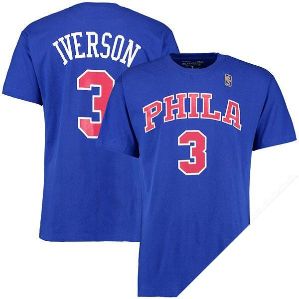 お取り寄せ NBA 76ers アレン・アイバーソン ネーム & ナンバー Tシャツ Mitchell & Ness