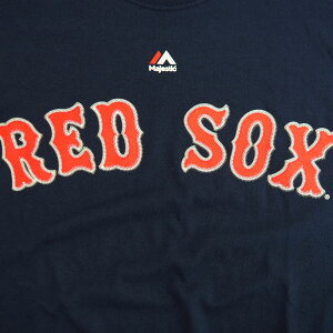 MLBレッドソックスTシャツネイビーマジェスティックNewWordmarkTシャツ
