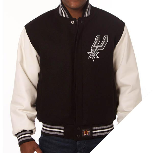 お取り寄せ NBA スパーズ ドメスティック ツートン ウール & レザー ジャケット JH Design ブラック:MLB.NBAグッズショップ SELECTION