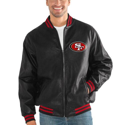 お取り寄せ NFL 49ers スティッフ アーム プレザー バーシティー ジャケット G-III ブラック