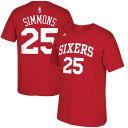 NBA 76ers ベン・シモンズ Tシャツ ネットナンバー アディダス/Adidas レッド