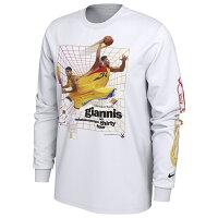【取寄】お取り寄せ NBA バックス ヤニス・アデトクンボ Tシャツ タイムワープ ロングスリーブ ナイキ/Nike ホワイト - 人気NBA選手のタイムワープTシャツ取寄スタート!