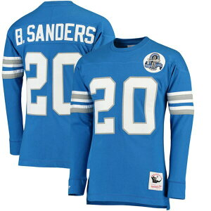 NFL Barry Sanders Lions T-shirt Retired Player Name & Number Long Mitchell & Ness/Mitchell & Ness Blue [1911 NFL Change]