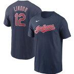 MLB フランシスコ・リンドール クリーブランド・インディアンス Tシャツ ネーム&ナンバー ナイキ/Nike ネイビー【OCSL】