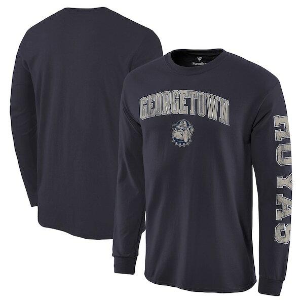 NCAA ジョージタウン大学 ホヤズ Tシャツ ディストレス アーチ ロゴ ロングスリーブ ネイビー