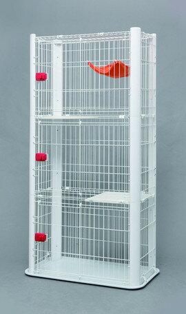 カラースリムケージ 3段 P-CSC-903 ホワイト/ブラウン(ペットゲージ、ペットサークル、ペット用品)