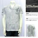 【AFFLICTION/アフリクション】VネックセンターラインスカルTシャツ(グレー・GRY)/メンズ【インポート】【セレカジ】【正規品】