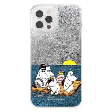 iPhone 12 12 Pro ケース ハードケース ハイブリッド ムーミン ラメ グリッター ムーミン達と海 カバー アイホン12 12プロ アイフォンケース スマホケース