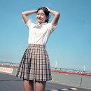 セーラー服コスプレ長袖半袖女の子学生服チェック柄スカート入学式卒業式スーツミニスカート女子高生制服上下セット3点セットコスプレ衣装コスチューム仮装学生服清純派かわいいリボンイベントS/M/L/XL/2XL/3XL/4XL/5XL大きいサイズ