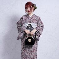 着物きもの和装国産単品レディースファブリックレトロモダン大正浪漫アンティーク風お洒落茶レンガグレーファッション日本製生地国産生地綿100%コットン※こちらは着物単品での販売です